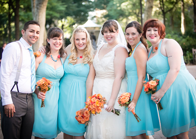 bridesmaides blue peach