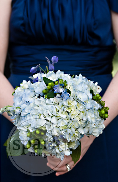 bridal bouquet pale blue by Amaranth Florist