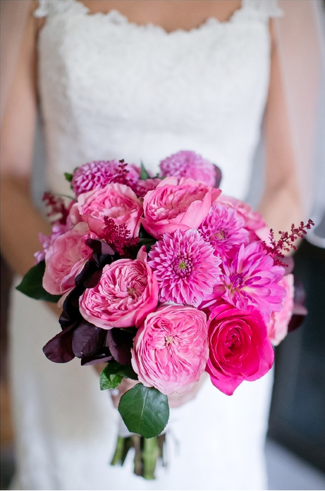 pink fall bridal bouquet by Amaranth Florist