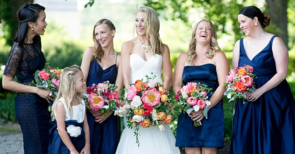 Amaranth Florist, royal blue bridesmaids, pink, orange bouquet,