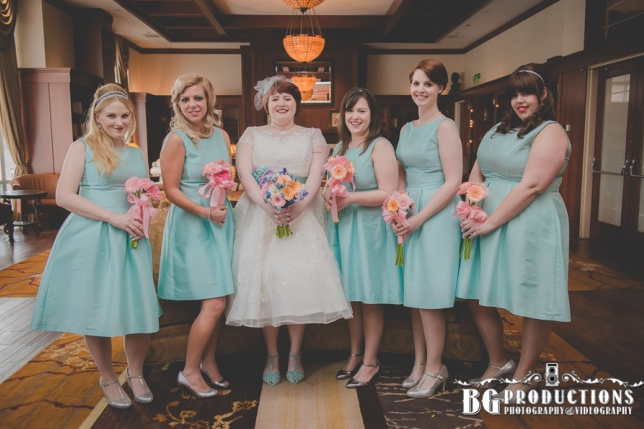 Penn at Inn Wedding flowers pink and teal bridal party