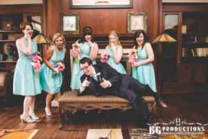 teal and pink bridal party wedding flowers by Amaranth Florist