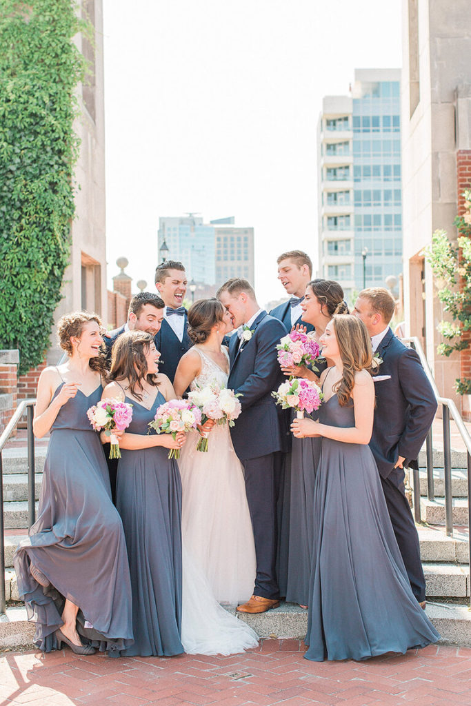 Wedding party blue, white, pink wedding flowers Amranth Florist Independence Seaport Museum