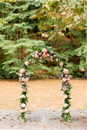 outdoor wedding arch pink decorated flowers Amaranth florist