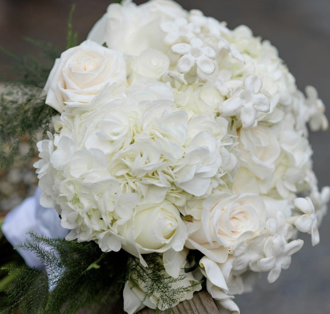 white wedding flower bouquet amranth florist